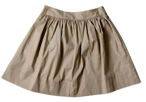 Banana Republic Stretch Cotton Pleated Mini Skirt Khaki
