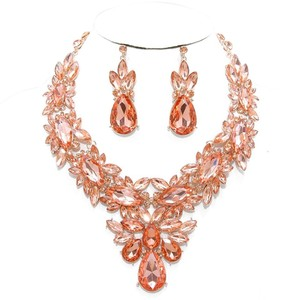 Rose Gold Peach Rhinestone Crystal Necklace And Earrings