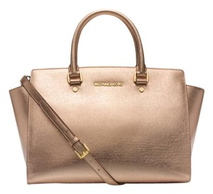Michael Kors Saffiano Leather Satchel in Gold/ gold tone