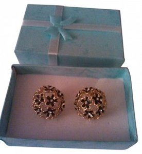 Vintage Black Flowers on Gold Dome Stud Earrings with Gift Box
