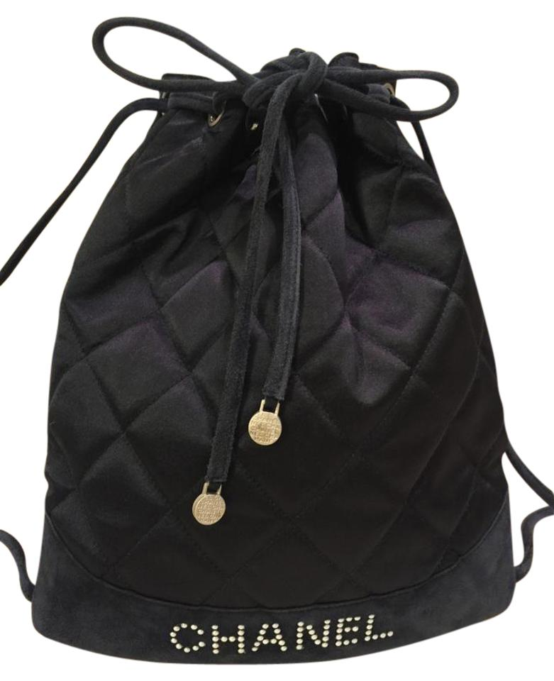 afc6a5b93058 Chanel Drawstring Quilted Navy Blue Satin with Suede Backpack - Tradesy
