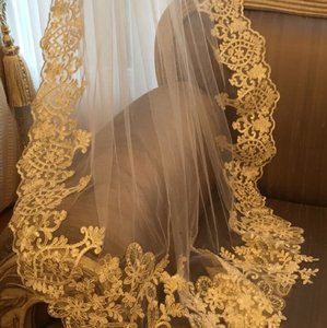 Off White Long Traditional Bridal Veil