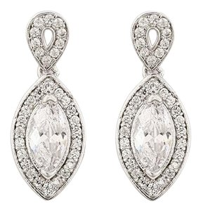 Other Silver-Tone Pave Crystal Marquise Tear Drop Earrings