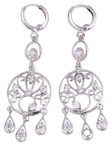 losangelesbeads Rhodium Plate Earring with CZ clear stone size 3x3mm, earring size 55x17mm, weight 4.7gr/pair.
