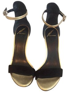 Brian Atwood Black and Gold Wedges
