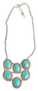 Lucky Brand Goldtone and Turquoise Stone Statement Necklace 17-19