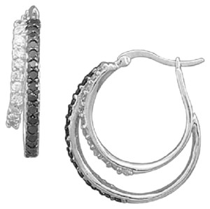 Other Rhodium Plated Black and White CZ Hoop Earrings