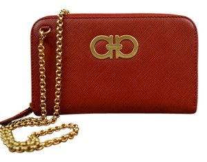 Salvatore Ferragamo Salvatore Ferragamo Red Double Gancio Leather Wallet on Chain NWT$595