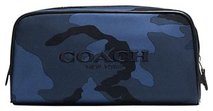 Coach COACH Nylon Weekend Travel Kit Bag Blue Camo Carry Case F93446 NWT