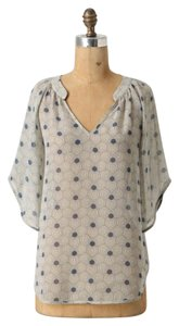 Anthropologie Rare Sold Out Floral Flowy Top Blue/Ivory