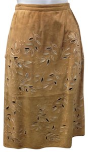 Valentino Chic Classic High End Designer European Skirt Brown Suede