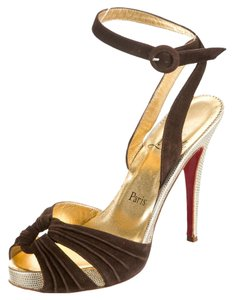 Christian Louboutin Suede Gold Brown/Gold Sandals