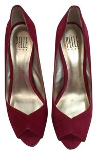 Pelle Moda Peep Suede Red Pumps