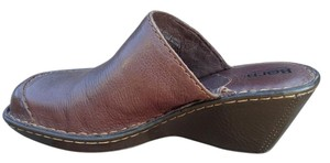 Børn Leather Wedge Heel Brown Mules