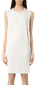 AllSaints short dress Alvie Stone/Dusty Pink Drape Silk Panel on Tradesy