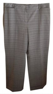 Ann Taylor LOFT Lined Professional Classic Straight Pants Black Plaid with thin gold stripe