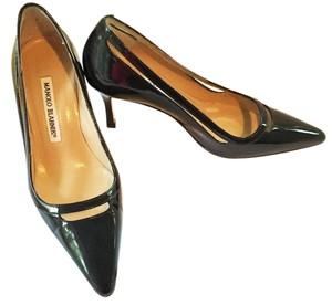 Manolo Blahnik Dark Navy Patent Leather Pumps