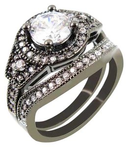 Other New 2pc Engagement/Wedding Ring Set 10k Black Gold Filled Ring 8