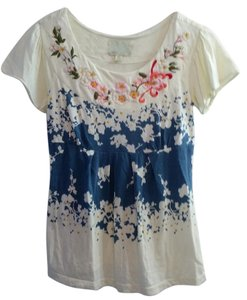 Anthropologie Floral Short Sleeve T Shirt Multi
