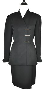 Mugler Thierry Mugler Black Wool Blend Skirt and Blazer Suite Size 10/12