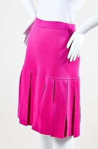 Chanel Vintage Boutique Magenta Wool Knit Pleated Knee Length Skirt Pink