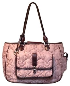 Brighton Braided Quilted Leather Satchel in Pink/brown