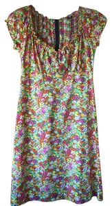 Anna Sui short dress yellow floral print Black Label Cotton Sun on Tradesy