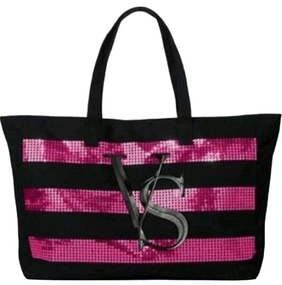 a509aa973b83 Victoria s Secret Black Pink Sequin Extra Large Tote Black Pink ...