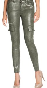 Guess Camo Glitter Cargo Metallic Skinny Jeans-Coated
