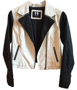 Boy Meets Girl Black & white Leather Jacket