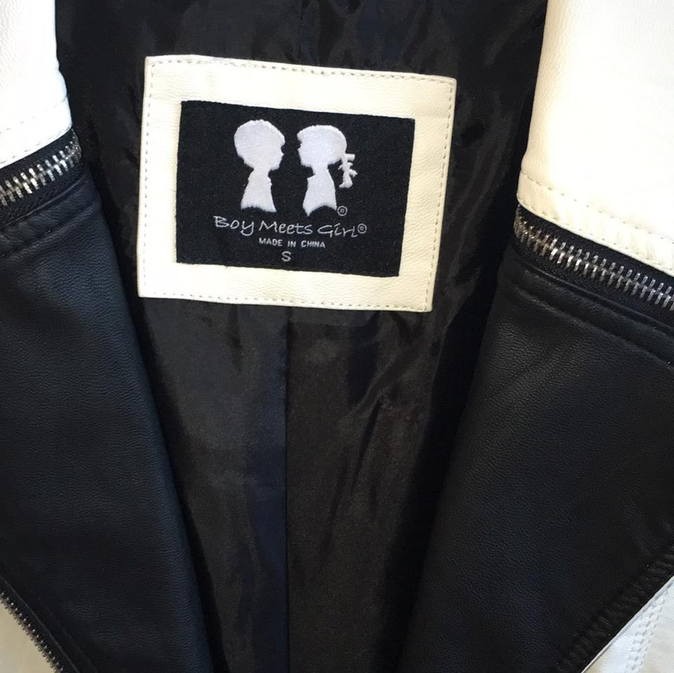 boy meets girl black white leather jacket size 4 s tradesy. Black Bedroom Furniture Sets. Home Design Ideas