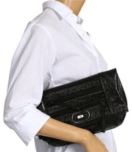 Rafe Metallic black Clutch