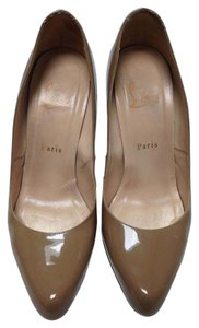 Christian Louboutin Leather Nude Beige Camel Patent Pumps