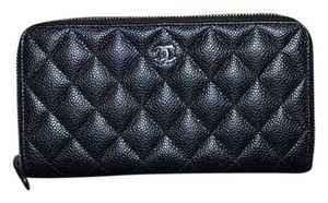 88ad967e5f7e92 Chanel 100% Auth BNIB CHANEL Caviar Quilted Large Gusset Zip Around Wallet  Black Silver