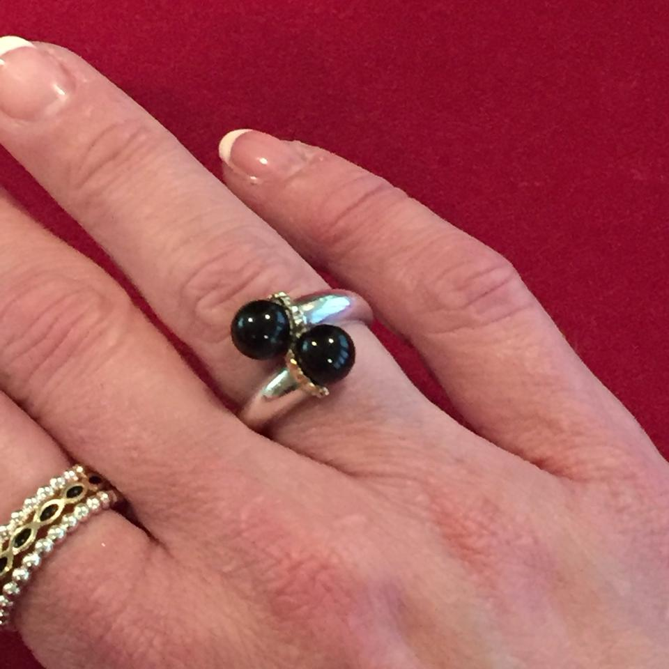Tiffany & Co. Black Silver Gold Vintage Onyx Bypass Size 6.5. Ring ...