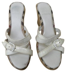 Burberry Sandals Check Espadrilles White Patent and Nova Plaid Wedges