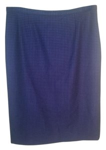 Nina Ricci Classic Houndstooth Wool Pencil Skirt Purple/black