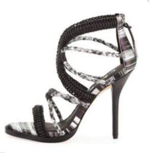 L.A.M.B. Heel Sexy Vine Woven Black/White Sandals