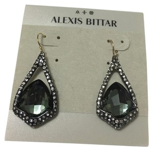 Alexis Bittar Miss Havisham Suspended Green Hematite Drop Earrings