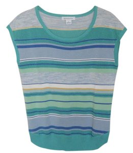 Liz Claiborne Striped Aqua Sweater