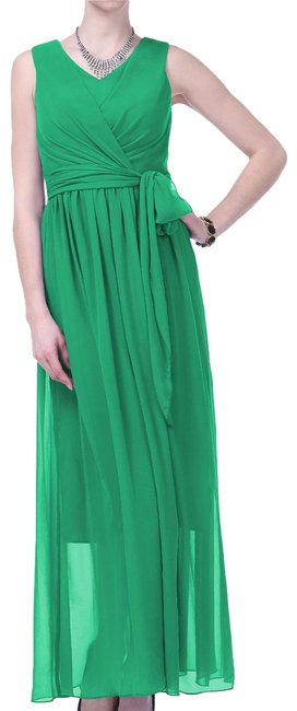Preload https://item4.tradesy.com/images/green-graceful-sleeveless-waist-tie-formal-multi-layered-long-cocktail-dress-size-4-s-154408-0-2.jpg?width=400&height=650
