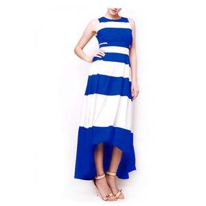 White & Blue Maxi Dress by Gracia