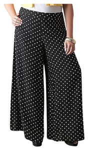 Lane Bryant Palazzo Plus Size Wide Leg Pants black polka dot