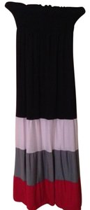 black, white, reddish pink, color blocked Maxi Dress by Maxi Polyester Rayon