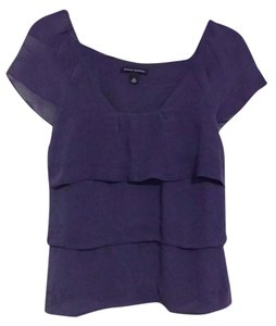 Banana Republic Silk Ruffle Top Purple