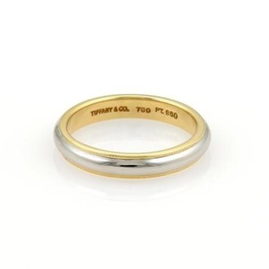 Tiffany & Co. Tiffany Co. Platinum 18k Yellow Gold 3mm Wide Wedding Band Ring 5.25