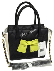 Betsey Johnson Tote in Black White Chartreuse