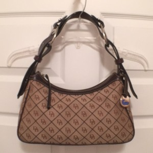 Dooney & Bourke Signature Logo Canvas Leather Shoulder Bag
