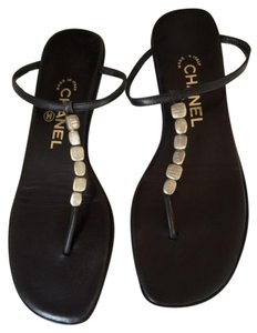 Chanel Leather Thong Tstrap Flats Black Sandals