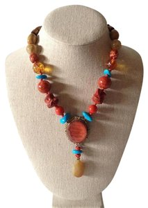Stephen Dweck Stephen Dweck Coral Turquoise Pendant Necklace